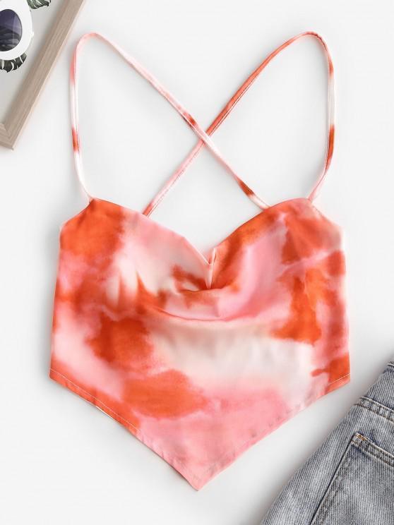 lady Cowl Tie Dye Satin Crisscross Lace-up Backless Bandana Top - MULTI M