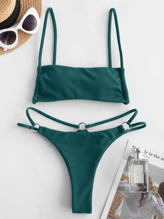 trendy ZAFUL Cinched O Ring Bikini Swimwear - DEEP GREEN M