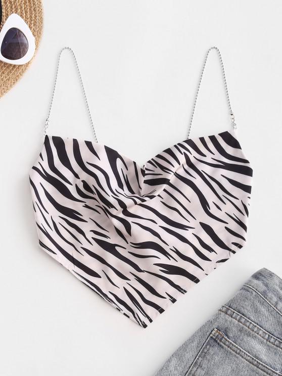 Chain Straps Zebra Print Satin Bandana Cami Top - أسود S