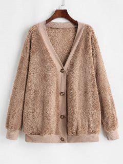 Button Up Ribbed Trim Fluffy Cardigan Coat - Coffee Xl