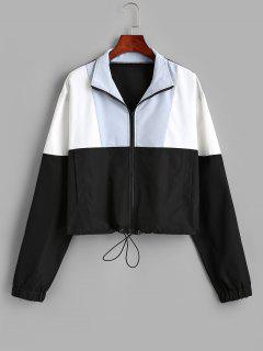 Pockets Zip Up Colorblock Sporty Jacket - Black S
