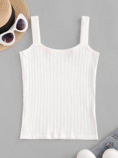 Knitted U Neck Slim Tank Top - White
