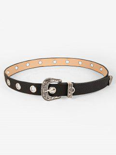 Pin Buckle Engraved Western Belt - Black
