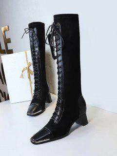 Lace Up Patchwork Knee Length Boots - Natural Black Eu 39