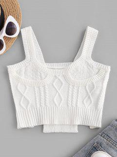 Cable Knit Slit Cropped Tank Top - White