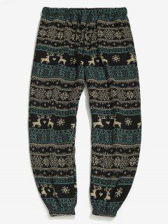 Christmas Snowflake Elk Print Fleece Jogger Pants - Black S