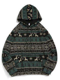 Christmas Snowflake Elk Print Fleece Hoodie - Black M