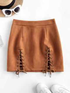 Lace-up Suede Bodycon Skirt - Coffee S