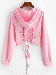 Lace-up Open Back Crop Hoodie - Light Pink M