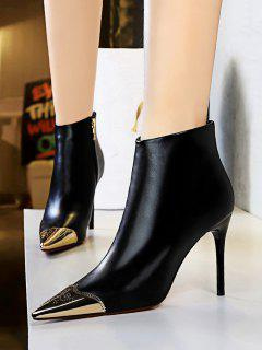 Metal Pointed Toe Ankle Boots - Natural Black Eu 37