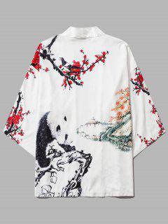 Panda Flower Paint Print Open Front Kimono Cardigan - Milk White Xl