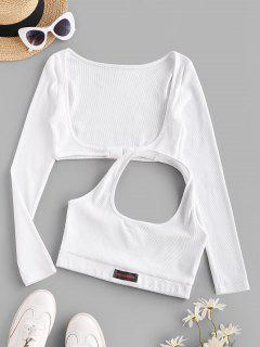 Halter Rib-knit Tank And Long Sleeve Buckled Top - White L
