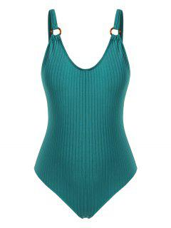 ZAFUL O-ring Ribbed Plus Size One-piece Swimsuit - Deep Green Xxl
