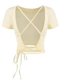 Crisscross Open Back Midriff Flossing Baby Tee - Light Yellow S