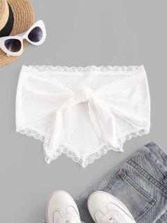 Rib-knit Lace Trim Knot Convertible Bandana Top - White S