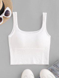 Padded Ribbed U Neck Cropped Tank Top - White