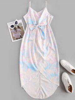 Tie Dye Bowknot Midi Tulip Dress - Light Blue M