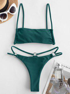 ZAFUL Cinched O Ring Bikini Swimwear - Deep Green M