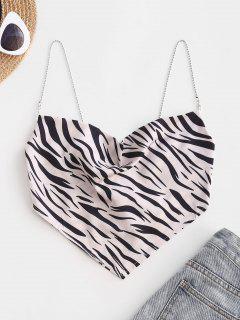 Chain Straps Zebra Print Satin Bandana Cami Top - Black S