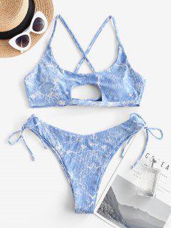 ZAFUL Ribbed Cinched Marble Print Cut Out Bikini Swimwear - Blue S