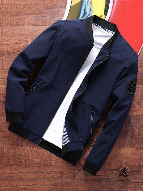 hot Stripes Lined Zippered Pockets Bomber Jacket - DEEP BLUE XS Mobile