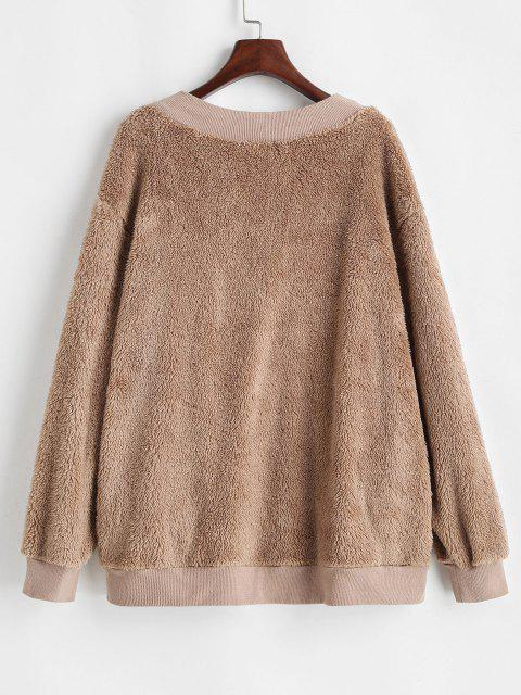 Button Up Ribbed Trim Fluffy Cardigan Coat - قهوة M Mobile