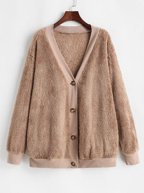 Button Up Ribbed Trim Fluffy Cardigan Coat - قهوة S Mobile