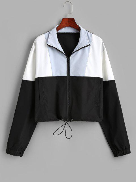 chic Pockets Zip Up Colorblock Sporty Jacket - BLACK S Mobile