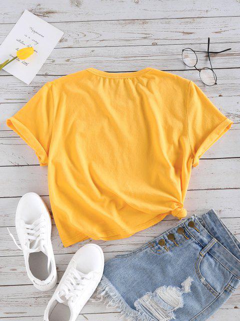 ZAFUL Grundlegendes Gänseblümchen Logo Graphik T-Shirt - Goldgelb L Mobile