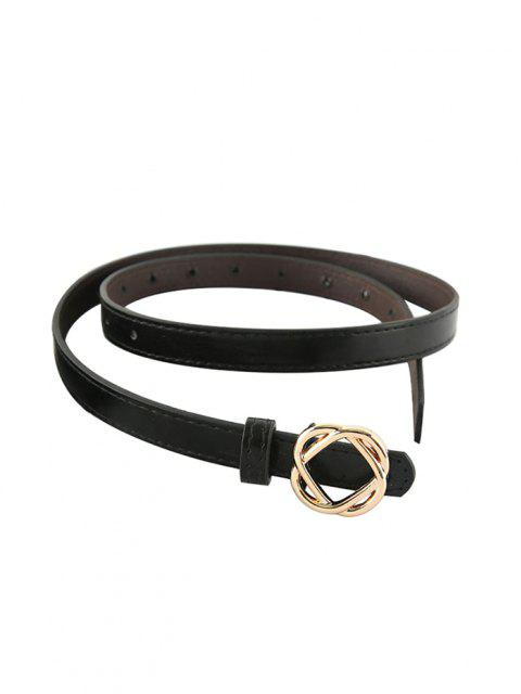 best Flower Buckle PU Waist Belt - BLACK  Mobile