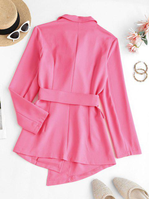 women Lapel Belted Flap Detail Blazer - LIGHT PINK S Mobile