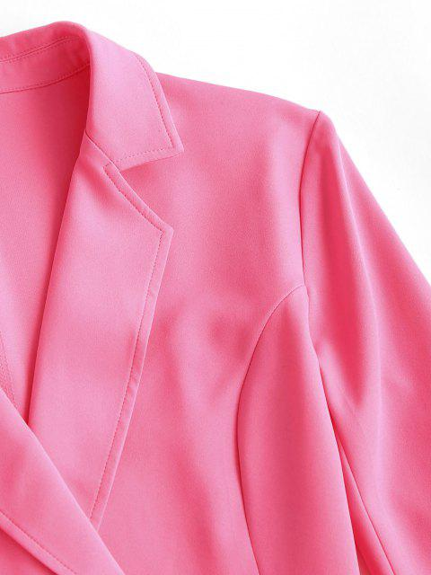 trendy Lapel Belted Flap Detail Blazer - LIGHT PINK M Mobile