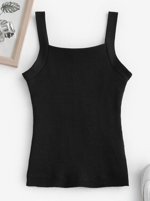 shops Fleece Lined Ribbed Knit Slim Tank Top - BLACK ONE SIZE Mobile