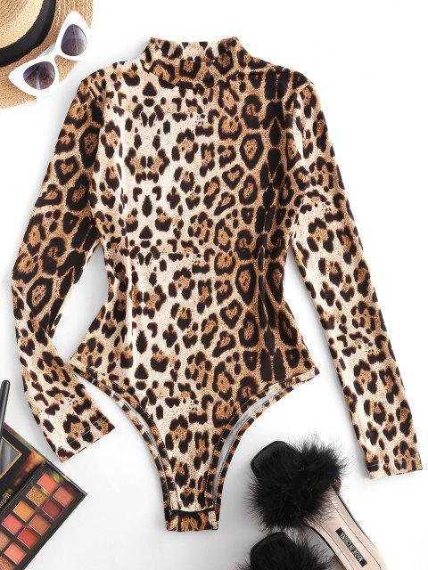 sale Mock Neck Leopard Snap Crotch Long Sleeve Bodysuit - MULTI S Mobile