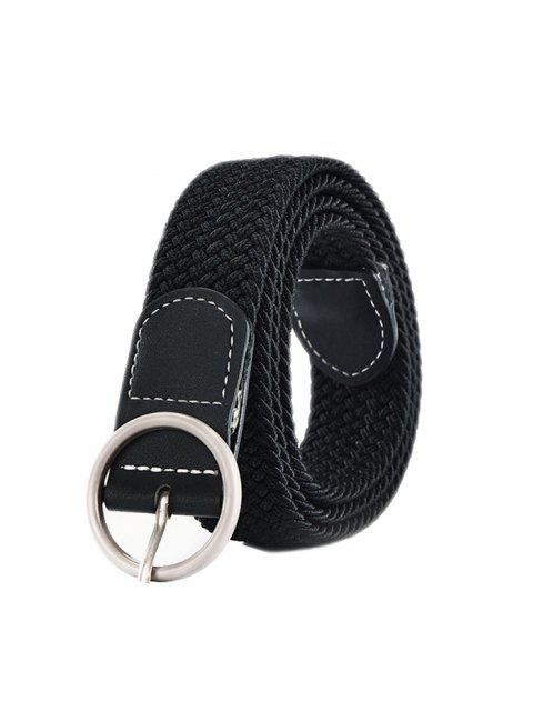 chic Round Pin Buckle Woven Belt - BLACK  Mobile