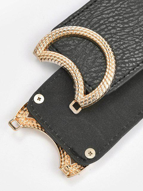 fancy Carved Circle Buckle Elastic Cinch Belt - GOLDEN  Mobile