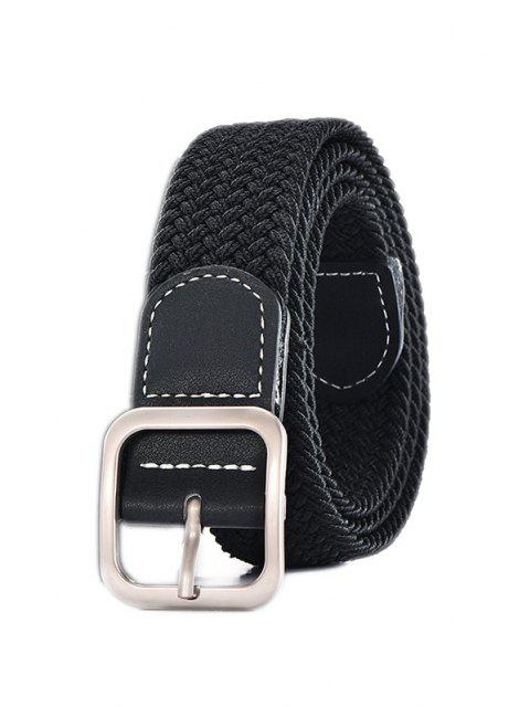 affordable Square Pin Buckle Woven Belt - BLACK  Mobile