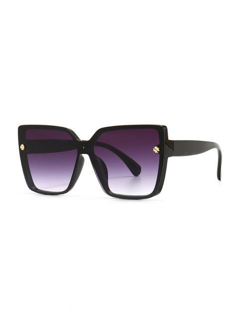 outfit Full Frame Clover Detail Square Ombre Sunglasses - BLACK  Mobile
