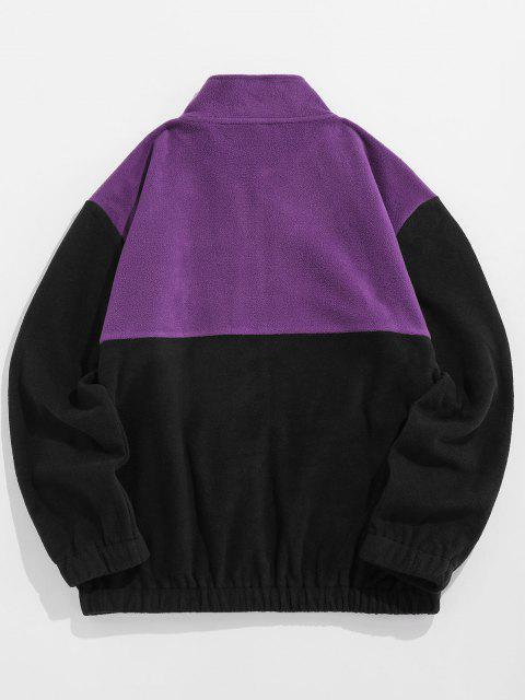 sale ZAFUL Applique Detail Contrast Fleece Jacket - PURPLE M Mobile