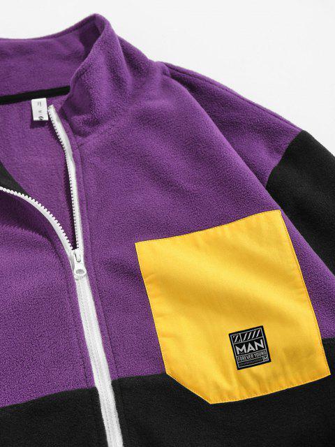 womens ZAFUL Applique Detail Contrast Fleece Jacket - PURPLE 2XL Mobile