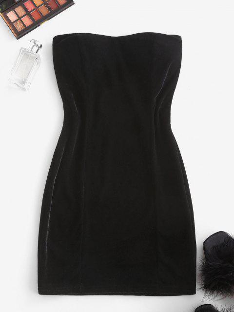 new Padded Velvet Mini Tube Dress - BLACK ONE SIZE Mobile