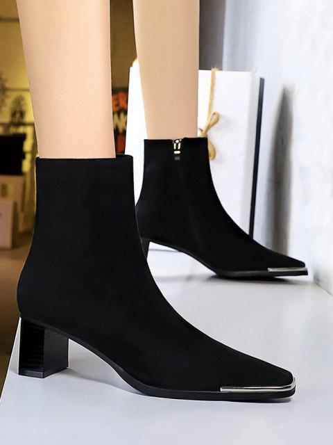 womens Metal Square Toe Block Heel Boots - BLACK EU 40 Mobile