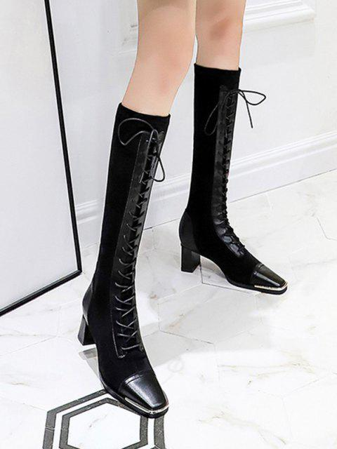 shop Lace Up Patchwork Knee Length Boots - NATURAL BLACK EU 39 Mobile