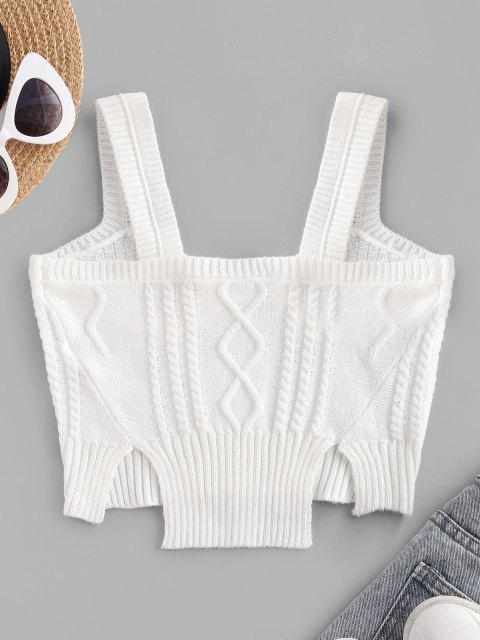womens Cable Knit Slit Cropped Tank Top - WHITE ONE SIZE Mobile