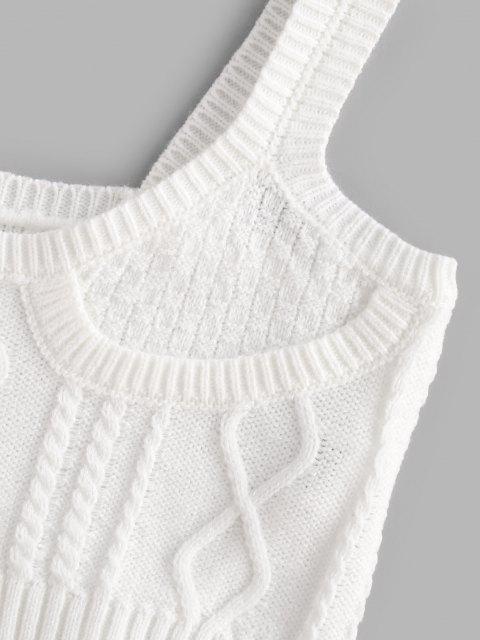 Regata Barriga de Fora de Crochê com Fenda - Branco Um Tamanho Mobile