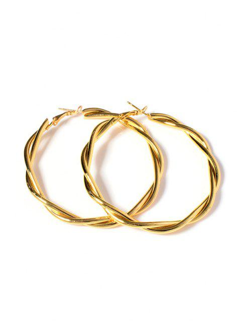 fashion Twist 18K Gold Plated Hoop Earrings - GOLDEN  Mobile
