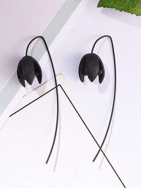 fancy Gothic Flower Shape Earrings - BLACK  Mobile