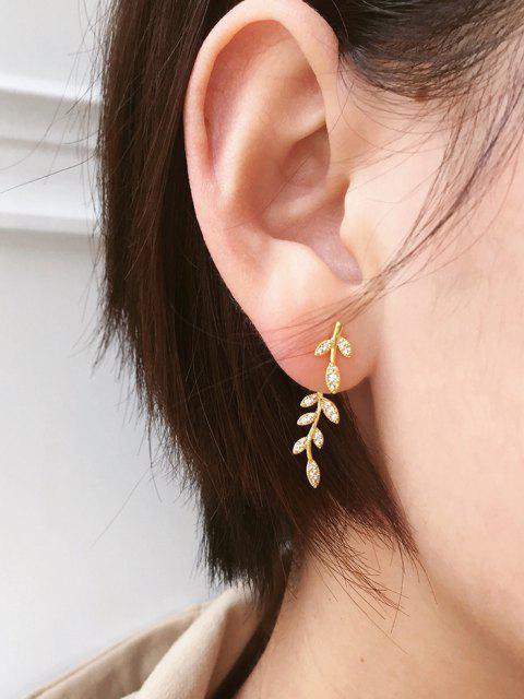Boucles D'Oreilles en Forme de Feuille avec Strass - d'or  Mobile
