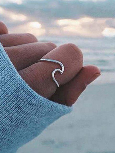 lady 3Pcs Brief Sea Wave Shape Ring Set - MULTI-A  Mobile