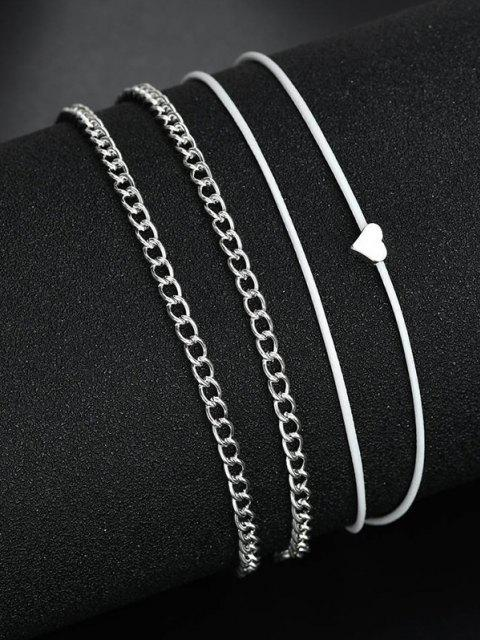 outfits 2Pcs Heart Cord Chain Anklet Set - SILVER  Mobile